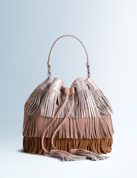Tilly Bag Soft Silver/Fresco/Tan Women Boden, Soft Silver/Fresco/Tan - predominant colour: tan; occasions: casual, creative work; type of pattern: standard; style: onion bag; length: handle; size: standard; material: suede; embellishment: fringing; pattern: plain; finish: plain; secondary colour: dusky pink; multicoloured: multicoloured; season: s/s 2016; wardrobe: highlight
