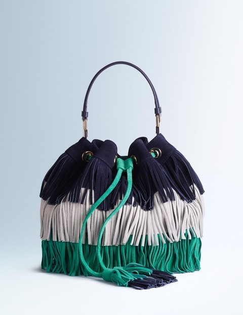 Tilly Bag Navy/Dove Grey/Eden Women Boden, Navy/Dove Grey/Eden - predominant colour: navy; secondary colour: emerald green; occasions: casual, creative work; type of pattern: standard; style: onion bag; length: handle; size: standard; material: suede; embellishment: fringing; finish: plain; pattern: colourblock; season: s/s 2016; wardrobe: highlight