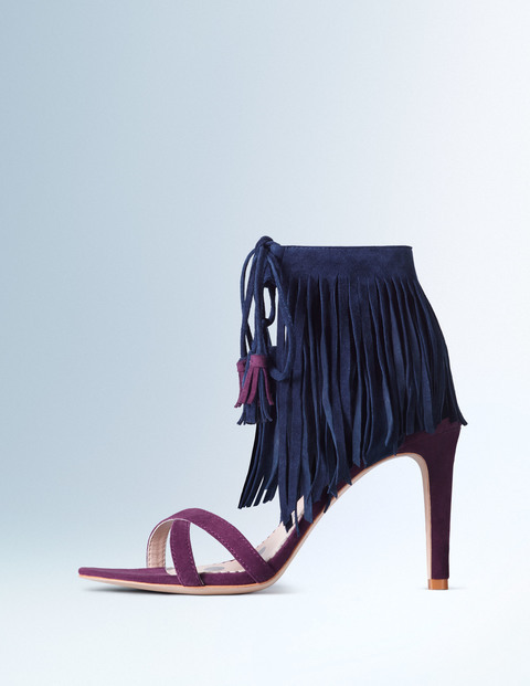 Tabitha Heel Indian Plum/Navy Suede Women, Indian Plum/Navy Suede - predominant colour: navy; occasions: evening, occasion; material: suede; heel height: high; ankle detail: ankle tie; heel: stiletto; toe: open toe/peeptoe; style: courts; finish: plain; pattern: plain; embellishment: fringing; secondary colour: dusky pink; season: s/s 2016; wardrobe: event