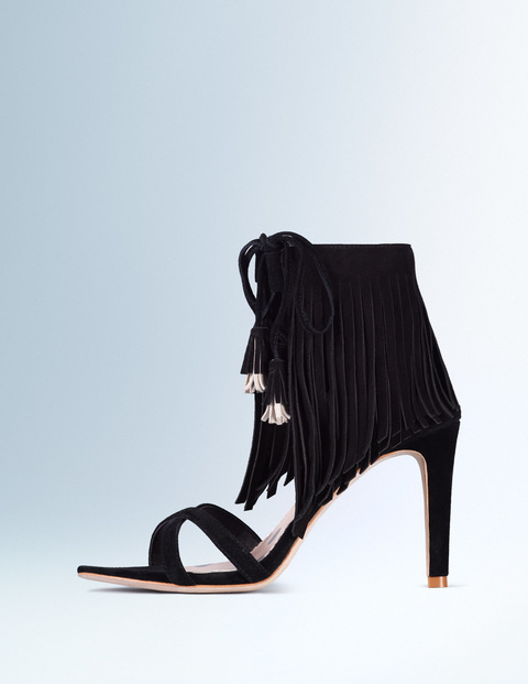 Tabitha Heel Black Women, Black - predominant colour: black; occasions: evening, occasion; material: suede; heel height: high; ankle detail: ankle tie; heel: stiletto; toe: open toe/peeptoe; style: courts; finish: plain; pattern: plain; embellishment: fringing; season: s/s 2016; wardrobe: event