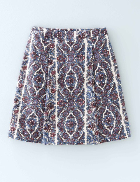 Kate Skirt Ivory Print Women, Ivory Print - length: mid thigh; fit: loose/voluminous; waist: high rise; secondary colour: white; predominant colour: denim; occasions: casual, creative work; style: a-line; fibres: cotton - 100%; texture group: cotton feel fabrics; pattern type: fabric; pattern: patterned/print; pattern size: standard (bottom); multicoloured: multicoloured; season: s/s 2016