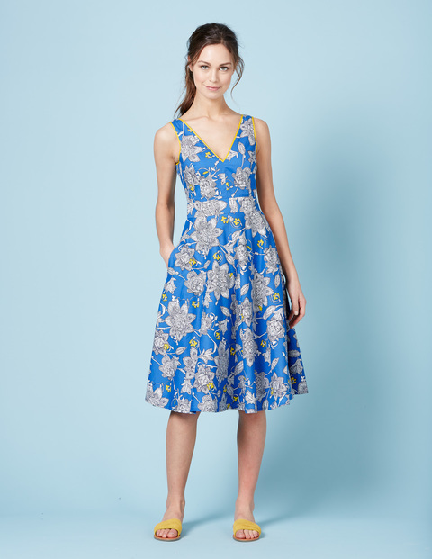 Rose Dress Blue Spaced Etched Floral Women, Blue Spaced Etched Floral - length: below the knee; neckline: low v-neck; sleeve style: sleeveless; predominant colour: diva blue; secondary colour: light grey; occasions: evening; fit: fitted at waist & bust; style: fit & flare; fibres: cotton - 100%; sleeve length: sleeveless; texture group: cotton feel fabrics; pattern type: fabric; pattern size: big & busy; pattern: florals; multicoloured: multicoloured; season: s/s 2016