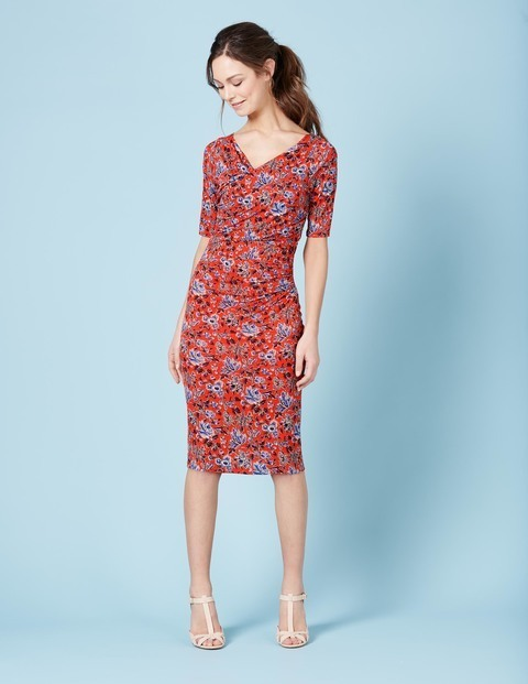 Rita Ruched Summer Dress Firecracker Painterly Floral Women, Firecracker Painterly Floral - length: below the knee; neckline: v-neck; fit: tight; style: bodycon; predominant colour: true red; secondary colour: pale blue; occasions: evening; fibres: viscose/rayon - 100%; sleeve length: half sleeve; sleeve style: standard; texture group: jersey - clingy; pattern type: fabric; pattern: florals; multicoloured: multicoloured; season: s/s 2016; wardrobe: event