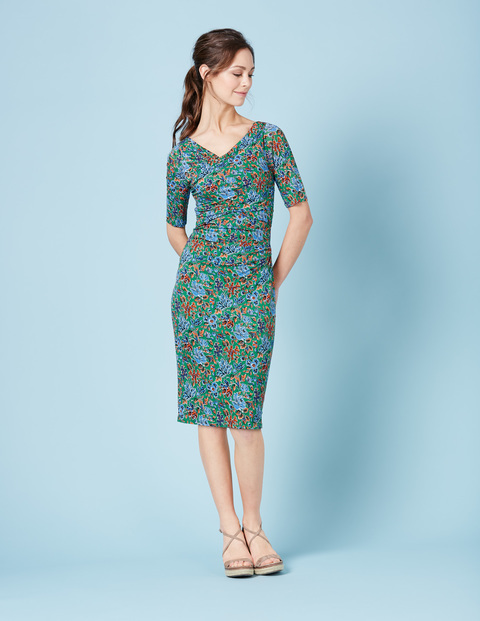 Rita Ruched Summer Dress Eden Painterly Floral Women, Eden Painterly Floral - length: below the knee; neckline: v-neck; fit: tight; style: bodycon; secondary colour: diva blue; predominant colour: emerald green; occasions: evening; fibres: viscose/rayon - 100%; sleeve length: half sleeve; sleeve style: standard; texture group: jersey - clingy; pattern type: fabric; pattern: florals; multicoloured: multicoloured; season: s/s 2016; wardrobe: event