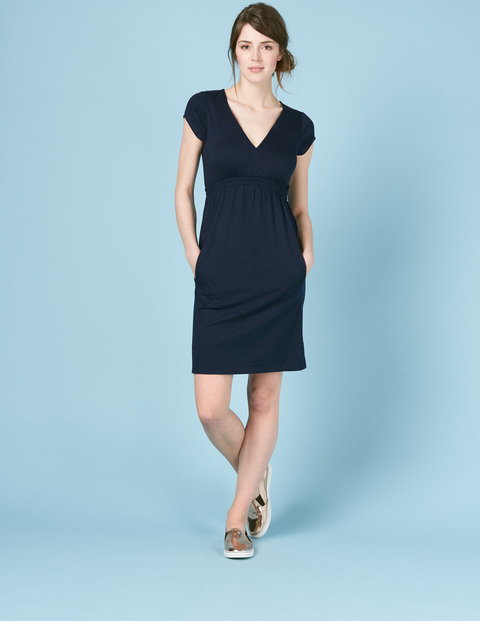 Curved Waist Seam Dress Navy Women, Navy - style: shift; neckline: v-neck; pattern: plain; predominant colour: navy; occasions: evening; length: just above the knee; fit: body skimming; fibres: cotton - 100%; sleeve length: short sleeve; sleeve style: standard; pattern type: fabric; texture group: jersey - stretchy/drapey; season: s/s 2016; wardrobe: event