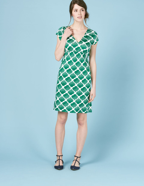 Curved Waist Seam Dress Eden Dotty Tile Women, Eden Dotty Tile - style: shift; neckline: v-neck; fit: tailored/fitted; secondary colour: white; predominant colour: emerald green; occasions: evening; length: on the knee; fibres: cotton - 100%; sleeve length: short sleeve; sleeve style: standard; texture group: cotton feel fabrics; pattern type: fabric; pattern size: big & busy; pattern: patterned/print; multicoloured: multicoloured; season: s/s 2016; wardrobe: event