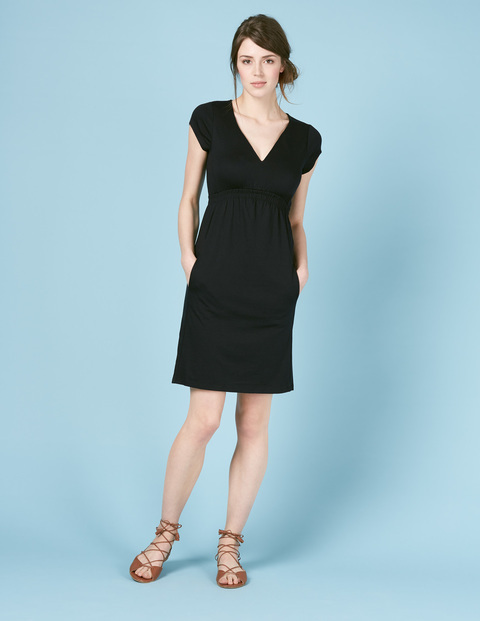 Curved Waist Seam Dress Black Women, Black - style: shift; neckline: v-neck; sleeve style: capped; pattern: plain; predominant colour: black; occasions: evening; length: just above the knee; fit: body skimming; fibres: cotton - mix; sleeve length: short sleeve; pattern type: fabric; texture group: jersey - stretchy/drapey; season: s/s 2016; wardrobe: event