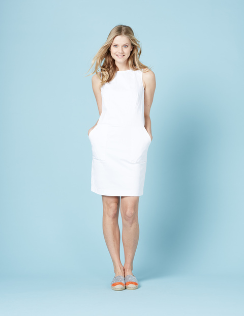 Chino Tunic Dress White Women, White - style: shift; length: mid thigh; fit: tailored/fitted; pattern: plain; sleeve style: sleeveless; predominant colour: white; occasions: evening; fibres: cotton - stretch; neckline: crew; sleeve length: sleeveless; pattern type: fabric; texture group: woven light midweight; season: s/s 2016; wardrobe: event