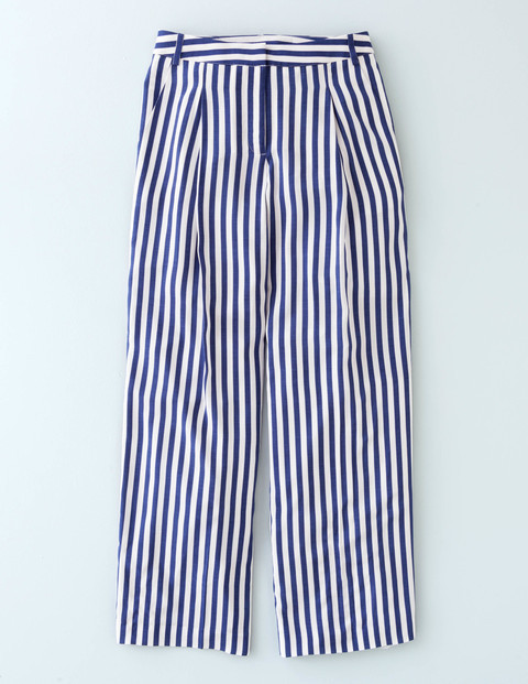 Dolly Wide Leg Trouser Blue Stripe Women, Blue Stripe - length: standard; pattern: vertical stripes; style: palazzo; waist: mid/regular rise; secondary colour: white; predominant colour: navy; occasions: casual; fibres: viscose/rayon - 100%; fit: wide leg; pattern type: fabric; texture group: other - light to midweight; multicoloured: multicoloured; season: s/s 2016; wardrobe: highlight
