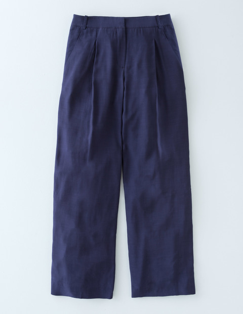 Dolly Wide Leg Trouser Navy Women, Navy - pattern: plain; waist: high rise; predominant colour: navy; occasions: casual, creative work; length: calf length; fibres: viscose/rayon - 100%; texture group: cotton feel fabrics; fit: straight leg; pattern type: fabric; style: standard; season: s/s 2016; wardrobe: basic