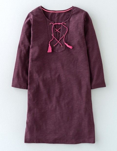 Cross Tie Tunic Indian Plum Women, Indian Plum - neckline: v-neck; pattern: plain; length: below the bottom; style: tunic; predominant colour: aubergine; occasions: casual; fibres: cotton - 100%; fit: body skimming; sleeve length: long sleeve; sleeve style: standard; pattern type: fabric; texture group: jersey - stretchy/drapey; season: s/s 2016