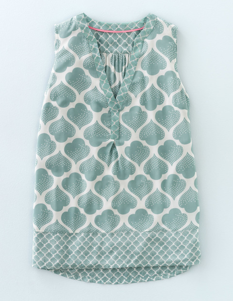 Hotchpotch Top Quails Egg Dotty Tile Women, Quails Egg Dotty Tile - neckline: v-neck; sleeve style: sleeveless; predominant colour: white; secondary colour: pistachio; occasions: casual; length: standard; style: top; fibres: viscose/rayon - 100%; fit: body skimming; sleeve length: sleeveless; texture group: cotton feel fabrics; pattern type: fabric; pattern: patterned/print; pattern size: big & busy (top); multicoloured: multicoloured; season: s/s 2016