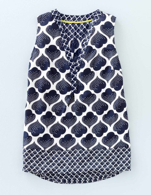 Hotchpotch Top Navy Dotty Tile Women, Navy Dotty Tile - neckline: v-neck; sleeve style: sleeveless; secondary colour: white; predominant colour: navy; occasions: casual; length: standard; style: top; fibres: viscose/rayon - 100%; fit: body skimming; sleeve length: sleeveless; texture group: cotton feel fabrics; pattern type: fabric; pattern: patterned/print; multicoloured: multicoloured; season: s/s 2016; wardrobe: highlight