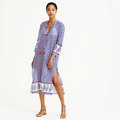 Mixed Paisley Printed Tunic - length: calf length; neckline: v-neck; fit: loose; style: kaftan; secondary colour: white; predominant colour: royal blue; occasions: casual, holiday; fibres: cotton - 100%; sleeve length: 3/4 length; sleeve style: standard; pattern type: fabric; pattern: patterned/print; texture group: other - light to midweight; multicoloured: multicoloured; season: s/s 2016; wardrobe: highlight