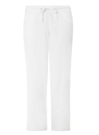 White Linen Blend Trousers - length: standard; pattern: plain; waist detail: belted waist/tie at waist/drawstring; waist: mid/regular rise; predominant colour: white; occasions: casual, holiday; fibres: linen - mix; texture group: linen; fit: straight leg; pattern type: fabric; style: standard; trends: leisure; season: s/s 2016; wardrobe: basic
