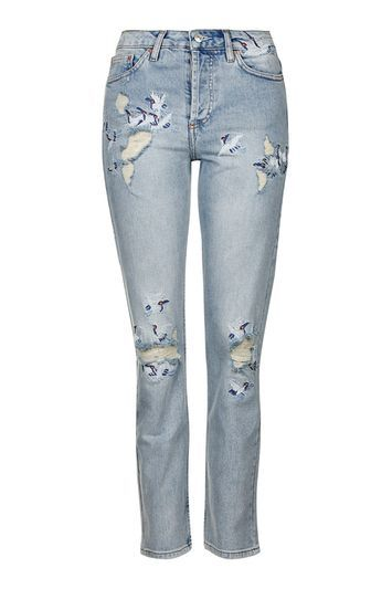 Moto Embroidered Straight Jeans - style: straight leg; length: standard; pattern: plain; waist: mid/regular rise; predominant colour: denim; occasions: casual; fibres: cotton - stretch; texture group: denim; pattern type: fabric; jeans detail: rips; trends: rebel girl; season: s/s 2016; wardrobe: basic