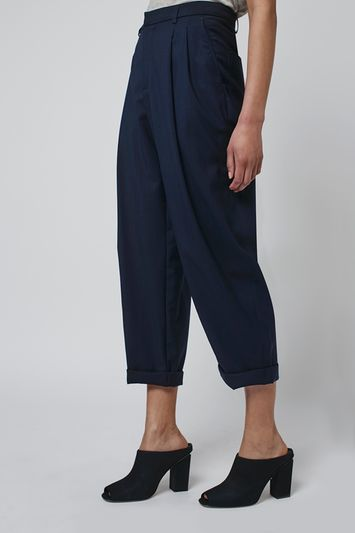 Tailored Mensy Trousers By Boutique - pattern: plain; style: peg leg; waist: high rise; predominant colour: navy; occasions: casual, creative work; length: calf length; fibres: cotton - mix; waist detail: feature waist detail; texture group: cotton feel fabrics; fit: tapered; pattern type: fabric; season: s/s 2016; wardrobe: basic