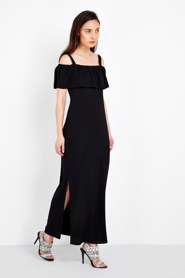 Plain Black Maxi Dress - neckline: off the shoulder; sleeve style: angel/waterfall; pattern: plain; style: maxi dress; length: ankle length; predominant colour: black; occasions: evening; fit: body skimming; fibres: polyester/polyamide - stretch; hip detail: slits at hip; sleeve length: short sleeve; texture group: crepes; pattern type: fabric; season: s/s 2016