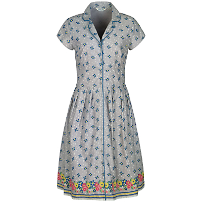 Lottie Dress, Confetti Flowers Cobble - style: shirt; neckline: shirt collar/peter pan/zip with opening; waist detail: fitted waist; secondary colour: teal; predominant colour: mid grey; occasions: casual; length: on the knee; fit: fitted at waist & bust; fibres: cotton - 100%; hip detail: adds bulk at the hips; sleeve length: short sleeve; sleeve style: standard; texture group: cotton feel fabrics; pattern type: fabric; pattern size: standard; pattern: patterned/print; multicoloured: multicoloured; season: s/s 2016; wardrobe: highlight; embellishment location: bust