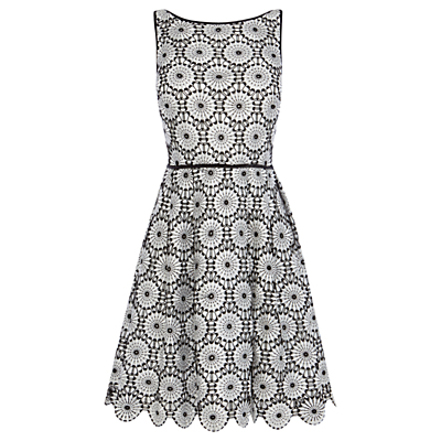 Tallulah Lace Dress, Black/White - length: mid thigh; neckline: slash/boat neckline; sleeve style: sleeveless; secondary colour: white; predominant colour: black; occasions: evening, occasion; fit: fitted at waist & bust; style: fit & flare; fibres: polyester/polyamide - 100%; hip detail: subtle/flattering hip detail; sleeve length: sleeveless; trends: monochrome; texture group: lace; pattern type: fabric; pattern size: big & busy; pattern: patterned/print; embellishment: lace; season: s/s 2016; wardrobe: event