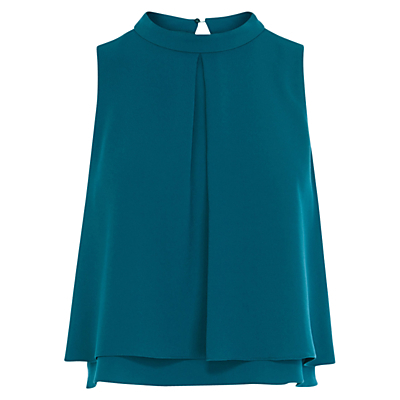 Caster Top, Teal - pattern: plain; sleeve style: sleeveless; style: blouse; predominant colour: teal; length: standard; neckline: collarstand; fibres: polyester/polyamide - 100%; fit: straight cut; back detail: keyhole/peephole detail at back; sleeve length: sleeveless; texture group: crepes; pattern type: fabric; occasions: creative work; season: s/s 2016; wardrobe: highlight