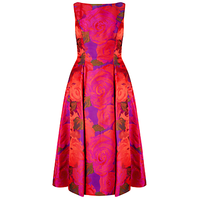 Sleeveless Tea Length Dress, Magenta - length: below the knee; neckline: slash/boat neckline; sleeve style: sleeveless; style: prom dress; waist detail: fitted waist; predominant colour: hot pink; secondary colour: bright orange; occasions: evening, occasion; fit: fitted at waist & bust; fibres: silk - mix; hip detail: structured pleats at hip; sleeve length: sleeveless; texture group: structured shiny - satin/tafetta/silk etc.; pattern type: fabric; pattern size: big & busy; pattern: florals; multicoloured: multicoloured; season: s/s 2016; wardrobe: event