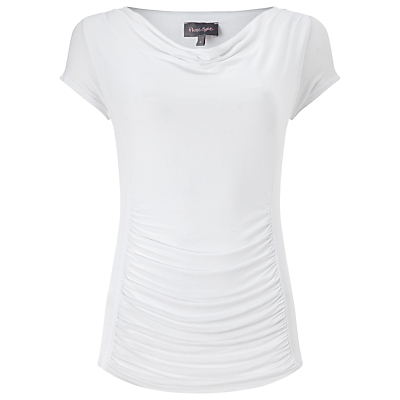 Stella Capped Sleeve Top, White - neckline: cowl/draped neck; sleeve style: capped; pattern: plain; style: t-shirt; predominant colour: ivory/cream; occasions: work; length: standard; fibres: viscose/rayon - stretch; fit: body skimming; sleeve length: short sleeve; texture group: jersey - clingy; pattern type: fabric; season: s/s 2016