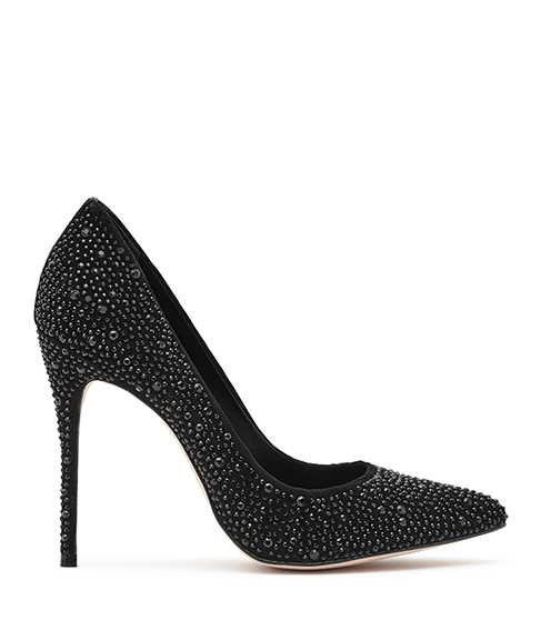Marilyn Crystal Embellished Shoes - predominant colour: black; occasions: evening, occasion; material: suede; heel height: high; embellishment: crystals/glass; heel: stiletto; toe: pointed toe; style: courts; finish: plain; pattern: plain; secondary colour: clear; season: s/s 2016; wardrobe: event