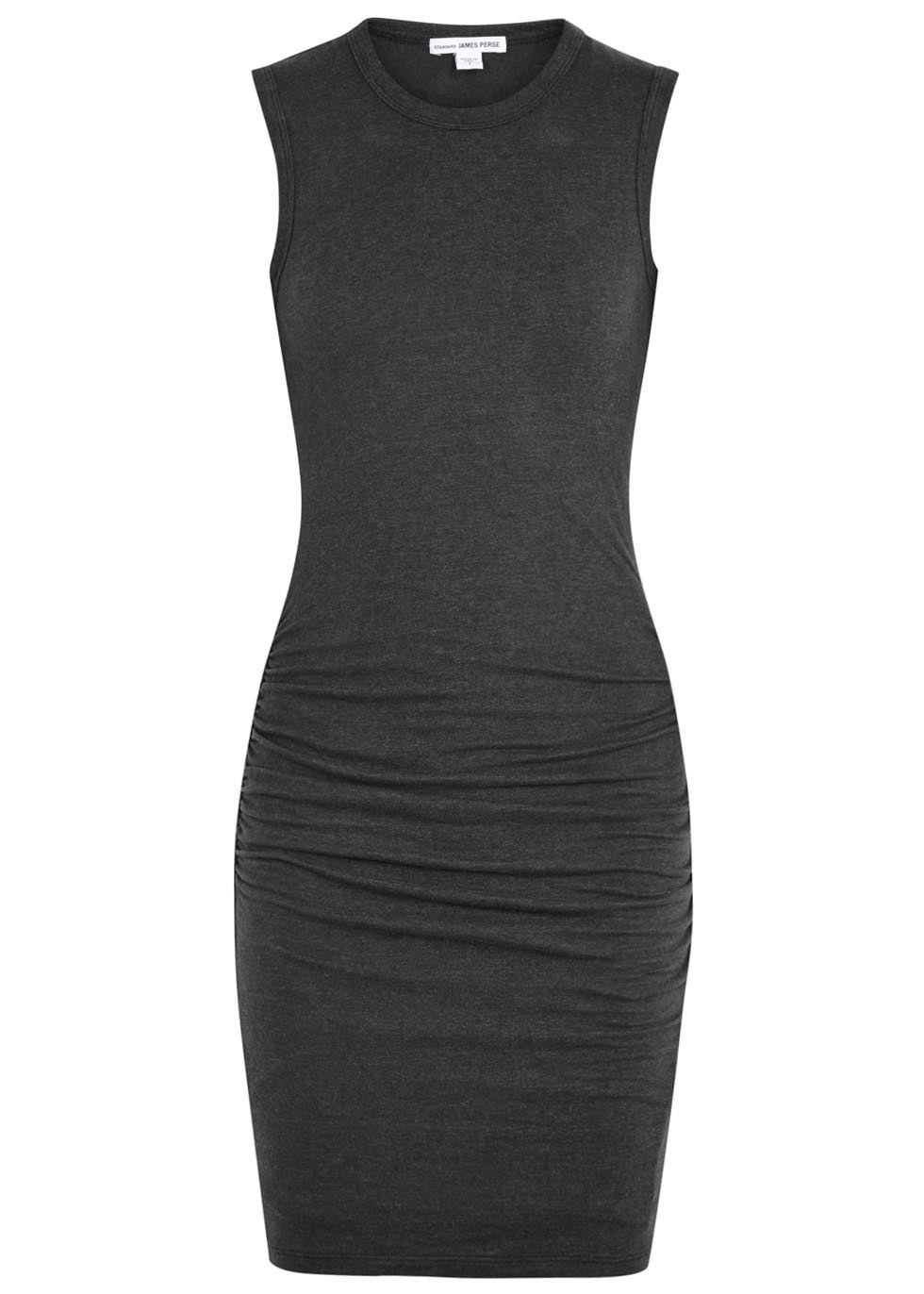 Ruched Charcoal Jersey Dress - length: mid thigh; fit: tight; pattern: plain; sleeve style: sleeveless; style: bodycon; predominant colour: charcoal; occasions: evening; fibres: cotton - mix; neckline: crew; hip detail: adds bulk at the hips; sleeve length: sleeveless; pattern type: fabric; pattern size: standard; texture group: jersey - stretchy/drapey; season: s/s 2016; wardrobe: event