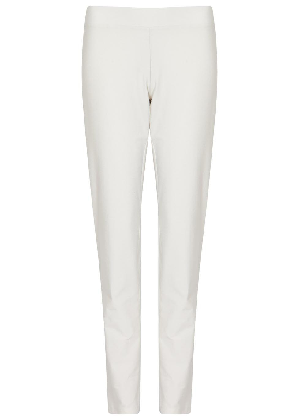 Off White Stretch Twill Skinny Trousers - length: standard; pattern: plain; style: leggings; waist: mid/regular rise; predominant colour: white; occasions: casual, creative work; fit: skinny/tight leg; pattern type: fabric; texture group: jersey - stretchy/drapey; fibres: viscose/rayon - mix; season: s/s 2016; wardrobe: basic
