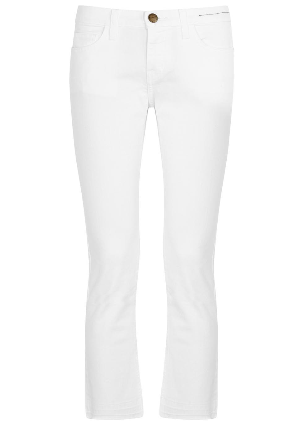 The Cropped Straight White Jeans - style: straight leg; pattern: plain; pocket detail: traditional 5 pocket; waist: mid/regular rise; predominant colour: white; occasions: casual; length: calf length; fibres: cotton - stretch; texture group: denim; pattern type: fabric; season: s/s 2016; wardrobe: highlight