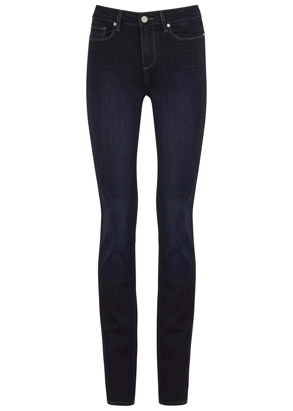 Hoxton Indigo Transcend Straight Jeans - style: straight leg; length: standard; pattern: plain; pocket detail: traditional 5 pocket; waist: mid/regular rise; predominant colour: navy; occasions: casual; fibres: cotton - stretch; texture group: denim; pattern type: fabric; season: s/s 2016; wardrobe: basic