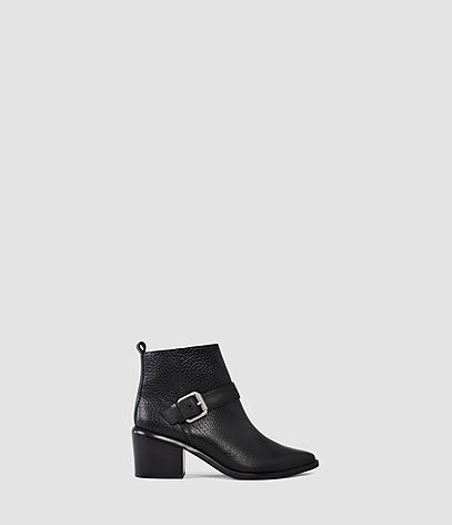 Jason Heel Boot - predominant colour: black; occasions: casual, work, creative work; material: leather; heel height: mid; embellishment: buckles; heel: block; toe: pointed toe; boot length: ankle boot; style: standard; finish: plain; pattern: plain; season: s/s 2016; wardrobe: basic
