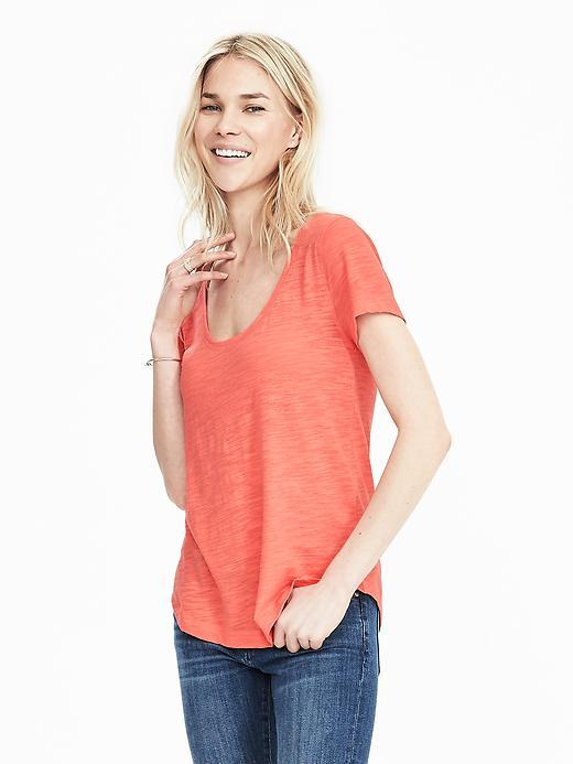 Slub Scoop Tee Neon Tropics - pattern: plain; style: t-shirt; predominant colour: bright orange; occasions: casual; length: standard; neckline: scoop; fibres: cotton - 100%; fit: loose; sleeve length: short sleeve; sleeve style: standard; pattern type: fabric; texture group: jersey - stretchy/drapey; season: s/s 2016; wardrobe: highlight