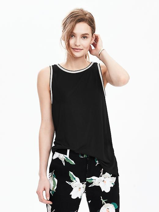 Sleeveless Rib Trim Top Black - pattern: plain; sleeve style: sleeveless; style: vest top; secondary colour: ivory/cream; predominant colour: black; occasions: casual; length: standard; fibres: viscose/rayon - 100%; fit: body skimming; neckline: crew; sleeve length: sleeveless; pattern type: fabric; texture group: jersey - stretchy/drapey; multicoloured: multicoloured; season: s/s 2016; wardrobe: basic