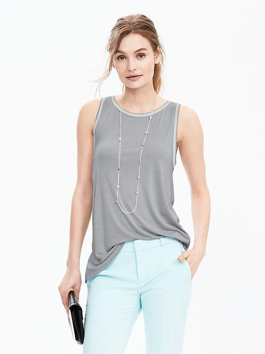 Sleeveless Rib Trim Top Silver Star - neckline: round neck; pattern: plain; sleeve style: sleeveless; style: vest top; predominant colour: light grey; occasions: casual; length: standard; fibres: viscose/rayon - 100%; fit: body skimming; sleeve length: sleeveless; pattern type: fabric; texture group: jersey - stretchy/drapey; season: s/s 2016