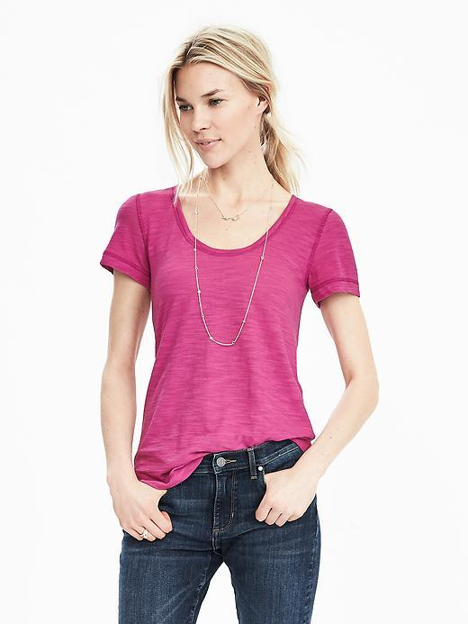 Slub Scoop Tee Hot Pink Br F00 - neckline: round neck; pattern: plain; style: t-shirt; predominant colour: hot pink; occasions: casual; length: standard; fibres: cotton - mix; fit: body skimming; sleeve length: short sleeve; sleeve style: standard; pattern type: fabric; texture group: jersey - stretchy/drapey; season: s/s 2016