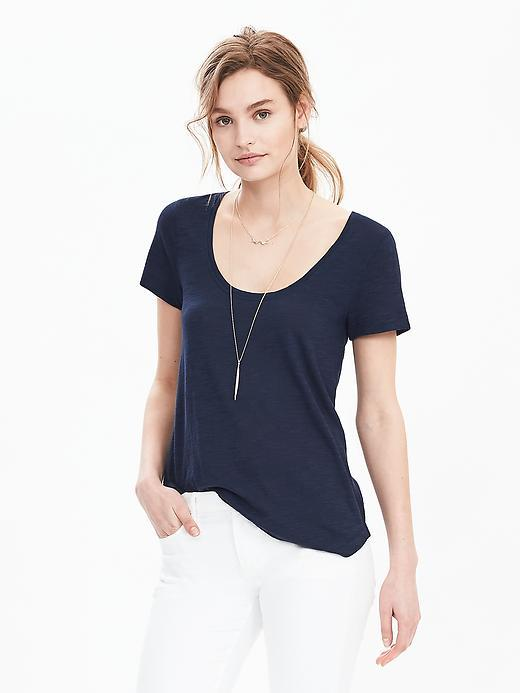 Slub Scoop Tee Boat Blue - pattern: plain; style: t-shirt; predominant colour: navy; occasions: casual; length: standard; neckline: scoop; fibres: cotton - mix; fit: body skimming; sleeve length: short sleeve; sleeve style: standard; pattern type: fabric; texture group: jersey - stretchy/drapey; season: s/s 2016; wardrobe: basic
