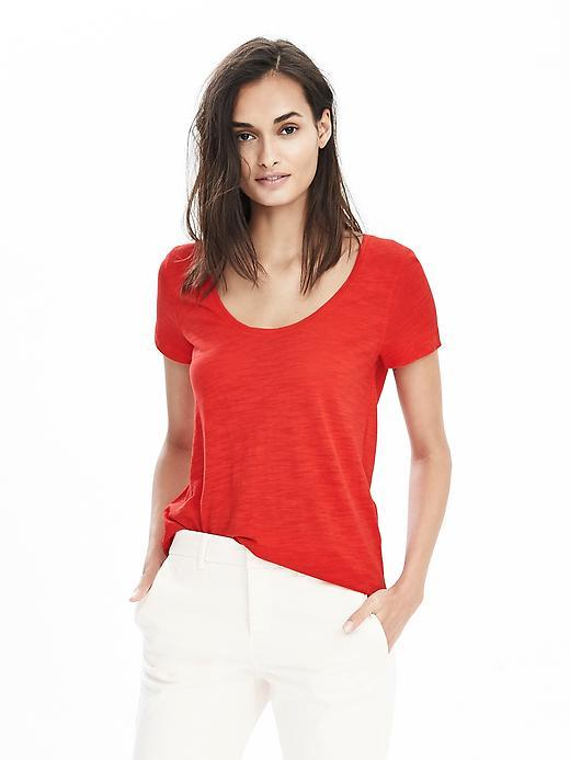 Slub Scoop Tee Lipstick Red - pattern: plain; style: t-shirt; predominant colour: true red; occasions: casual; length: standard; neckline: scoop; fibres: cotton - mix; fit: body skimming; sleeve length: short sleeve; sleeve style: standard; pattern type: fabric; texture group: jersey - stretchy/drapey; season: s/s 2016
