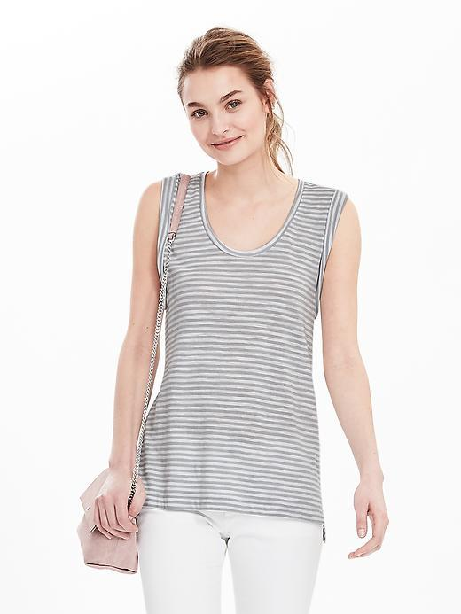 Stripe Cotton Modal Tank Gray - neckline: round neck; pattern: horizontal stripes; sleeve style: sleeveless; style: vest top; secondary colour: white; predominant colour: light grey; occasions: casual; length: standard; fibres: cotton - 100%; fit: body skimming; sleeve length: sleeveless; pattern type: fabric; pattern size: standard; texture group: jersey - stretchy/drapey; multicoloured: multicoloured; season: s/s 2016; wardrobe: basic