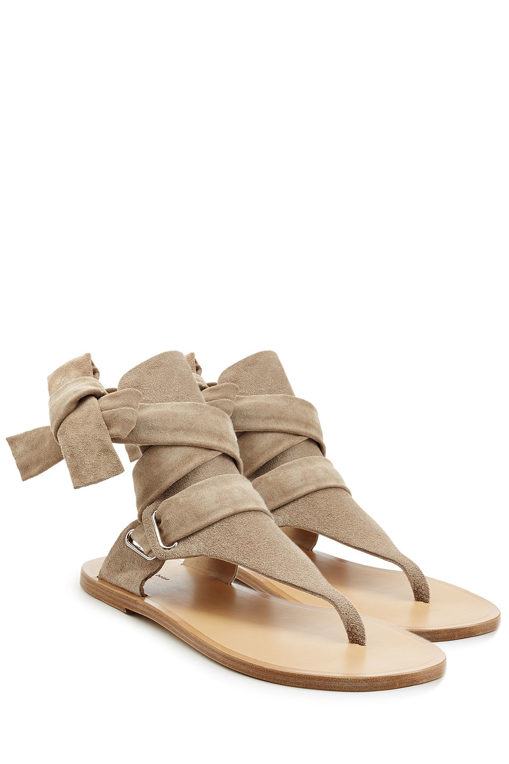 Stretch Suede Wrap Sandals - predominant colour: stone; material: suede; heel height: flat; ankle detail: ankle tie; heel: block; toe: toe thongs; style: flip flops; occasions: holiday; finish: plain; pattern: plain; season: s/s 2016; wardrobe: highlight