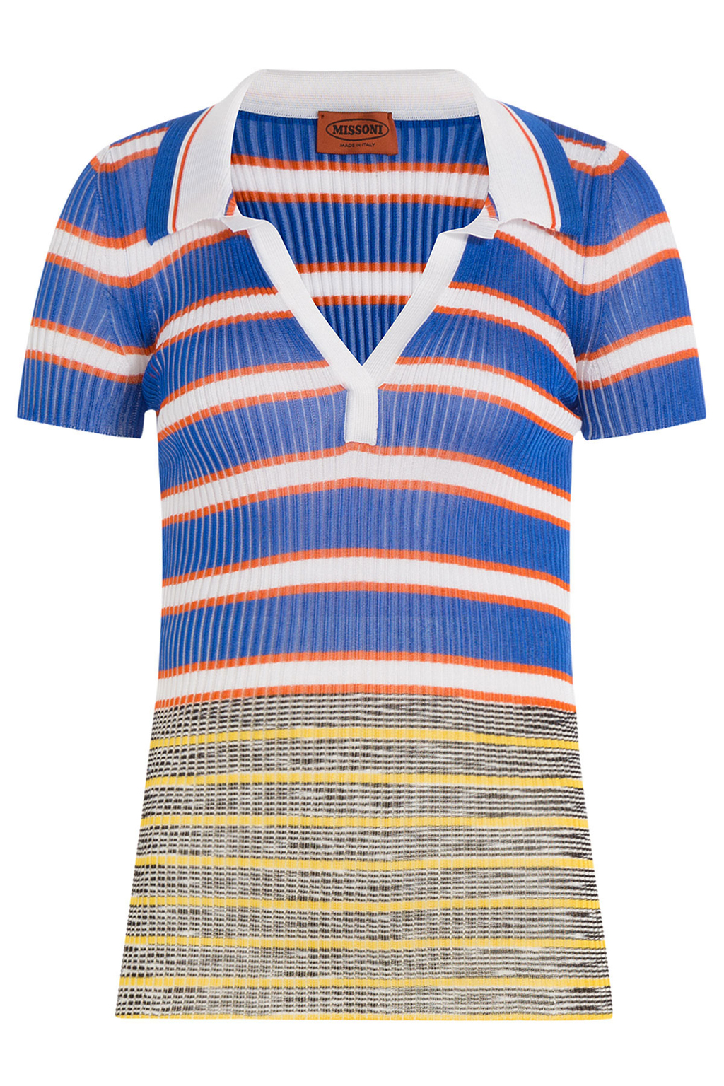 Striped Knit Polo Shirt Multicolor - pattern: horizontal stripes; style: shirt; bust detail: buttons at bust (in middle at breastbone)/zip detail at bust; secondary colour: white; predominant colour: royal blue; occasions: casual, creative work; length: standard; fibres: viscose/rayon - 100%; fit: body skimming; neckline: no opening/shirt collar/peter pan; sleeve length: short sleeve; sleeve style: standard; texture group: knits/crochet; pattern type: knitted - fine stitch; pattern size: big & busy (top); multicoloured: multicoloured; season: s/s 2016