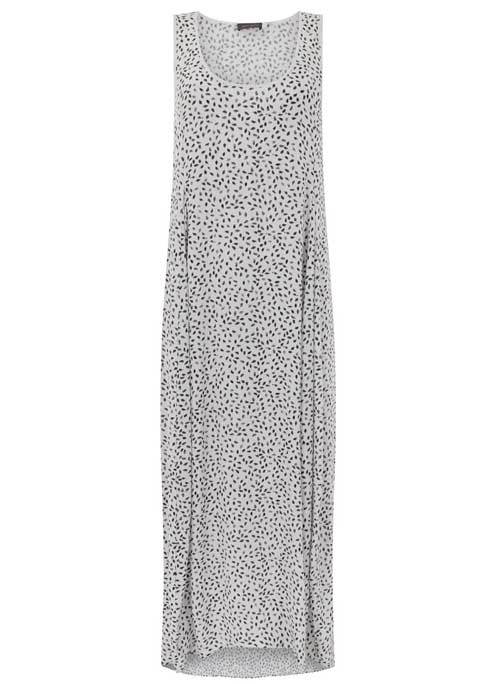 Aspen Print Cocoon Maxi Dress - neckline: round neck; sleeve style: sleeveless; style: maxi dress; length: ankle length; hip detail: draws attention to hips; predominant colour: white; secondary colour: mid grey; occasions: casual; fit: body skimming; fibres: viscose/rayon - 100%; sleeve length: sleeveless; pattern type: fabric; pattern: patterned/print; texture group: jersey - stretchy/drapey; multicoloured: multicoloured; season: s/s 2016; wardrobe: highlight