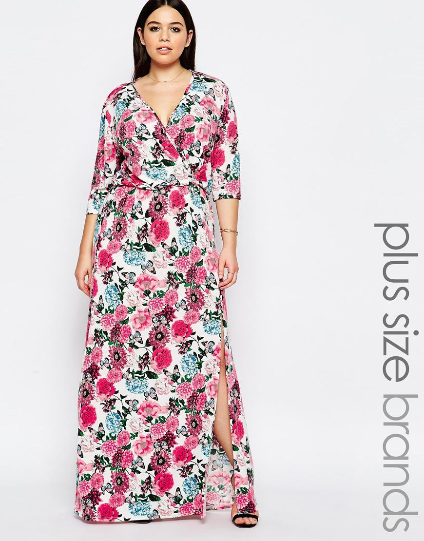 Plus V Neck Printed Maxi Dress 3/4 Sleeves Butterfly Floral - style: faux wrap/wrap; neckline: v-neck; predominant colour: white; secondary colour: hot pink; occasions: casual, evening; length: floor length; fit: body skimming; fibres: viscose/rayon - stretch; sleeve length: 3/4 length; sleeve style: standard; pattern type: fabric; pattern: florals; texture group: jersey - stretchy/drapey; multicoloured: multicoloured; season: s/s 2016