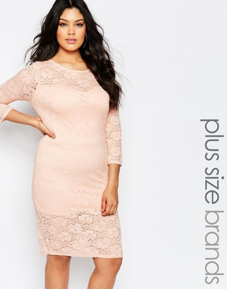 Plus Midi Dress In Lace Nude Pink - style: shift; neckline: round neck; pattern: plain; predominant colour: nude; occasions: evening, occasion; length: on the knee; fit: body skimming; fibres: polyester/polyamide - stretch; sleeve length: 3/4 length; sleeve style: standard; texture group: lace; pattern type: fabric; pattern size: standard; season: s/s 2016