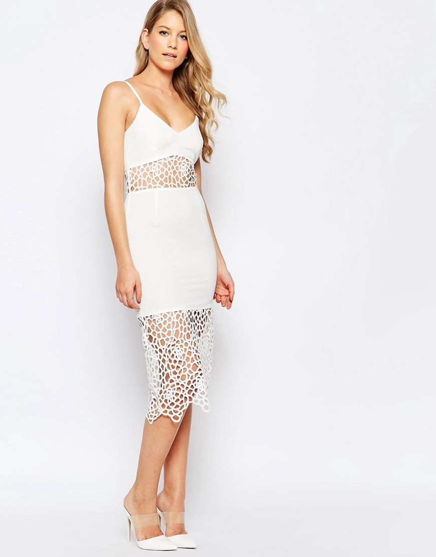 Harmony Midi Dress With Crochet Inserts Cream - length: below the knee; neckline: low v-neck; sleeve style: spaghetti straps; fit: tight; style: bodycon; hip detail: draws attention to hips; predominant colour: ivory/cream; occasions: evening; fibres: polyester/polyamide - 100%; sleeve length: sleeveless; texture group: lace; pattern type: fabric; pattern size: standard; pattern: patterned/print; embellishment: lace; season: s/s 2016; wardrobe: event; embellishment location: skirt, waist