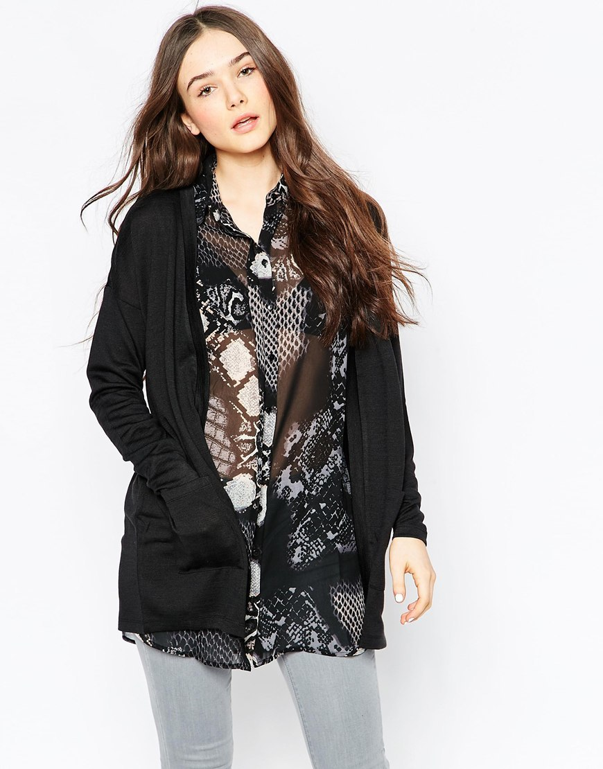 Longline Cardigan Black - pattern: plain; neckline: collarless open; style: open front; predominant colour: black; occasions: casual, work, creative work; fibres: polyester/polyamide - stretch; fit: loose; length: mid thigh; sleeve length: long sleeve; sleeve style: standard; texture group: knits/crochet; pattern type: knitted - fine stitch; season: s/s 2016