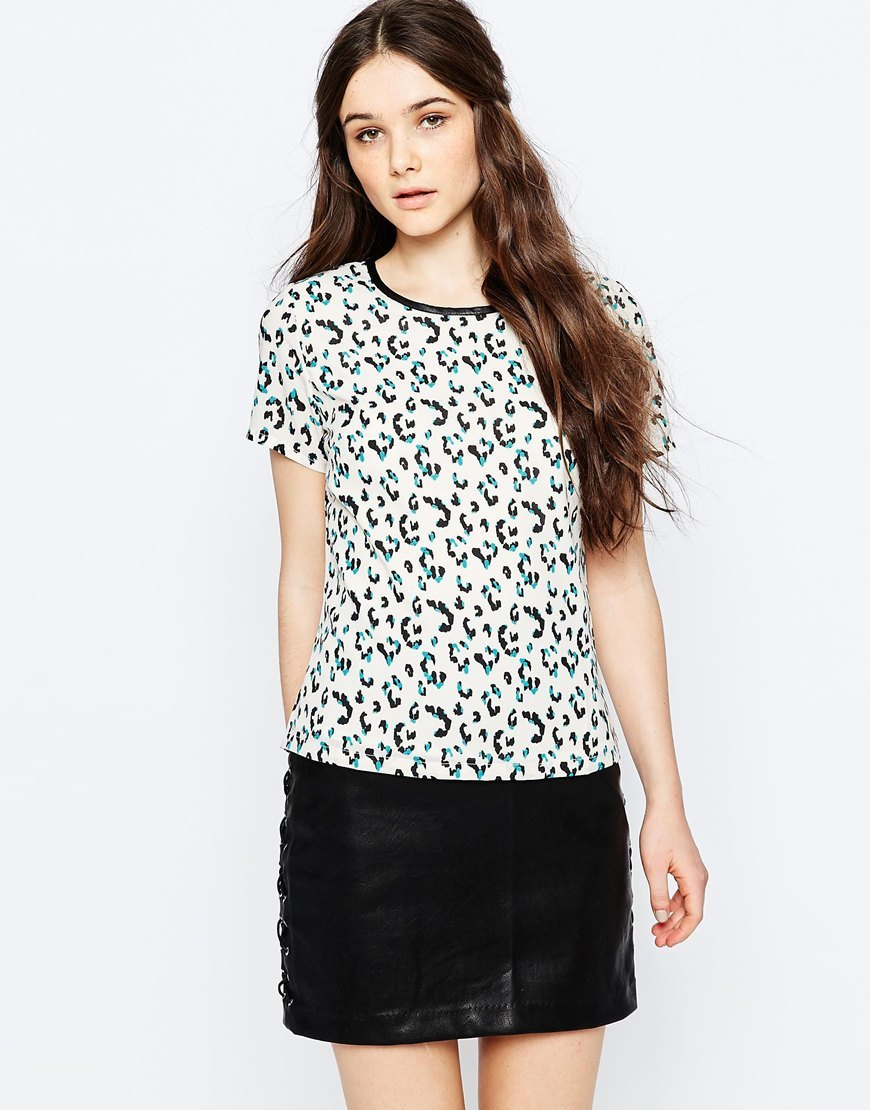 Evie Leopard Spot Tee Cream - predominant colour: white; secondary colour: black; occasions: casual; length: standard; style: top; fibres: polyester/polyamide - 100%; fit: body skimming; neckline: crew; sleeve length: short sleeve; sleeve style: standard; pattern type: fabric; pattern: animal print; texture group: other - light to midweight; multicoloured: multicoloured; season: s/s 2016