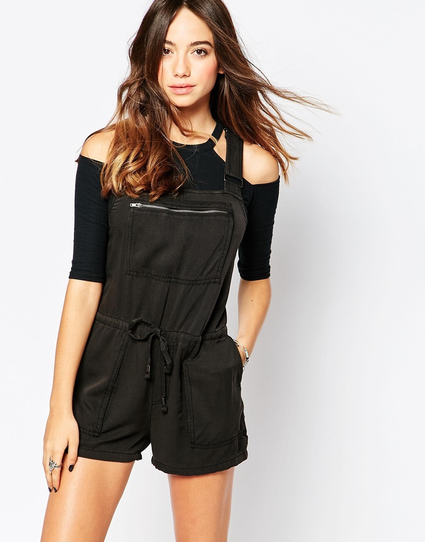 Blackless Playsuit Black - pattern: plain; length: short shorts; predominant colour: black; occasions: casual, holiday; fit: body skimming; fibres: polyester/polyamide - 100%; neckline: crew; shoulder detail: cut out shoulder; sleeve length: 3/4 length; sleeve style: standard; style: playsuit; pattern type: fabric; texture group: other - light to midweight; embellishment: zips; season: s/s 2016