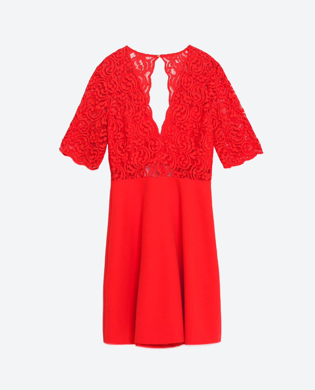 Lace Skater Dress - length: mid thigh; neckline: plunge; back detail: back revealing; predominant colour: true red; occasions: evening; fit: fitted at waist & bust; style: fit & flare; fibres: polyester/polyamide - 100%; sleeve length: 3/4 length; sleeve style: standard; texture group: lace; pattern type: fabric; pattern size: standard; pattern: patterned/print; embellishment: lace; season: s/s 2016; wardrobe: event; embellishment location: top